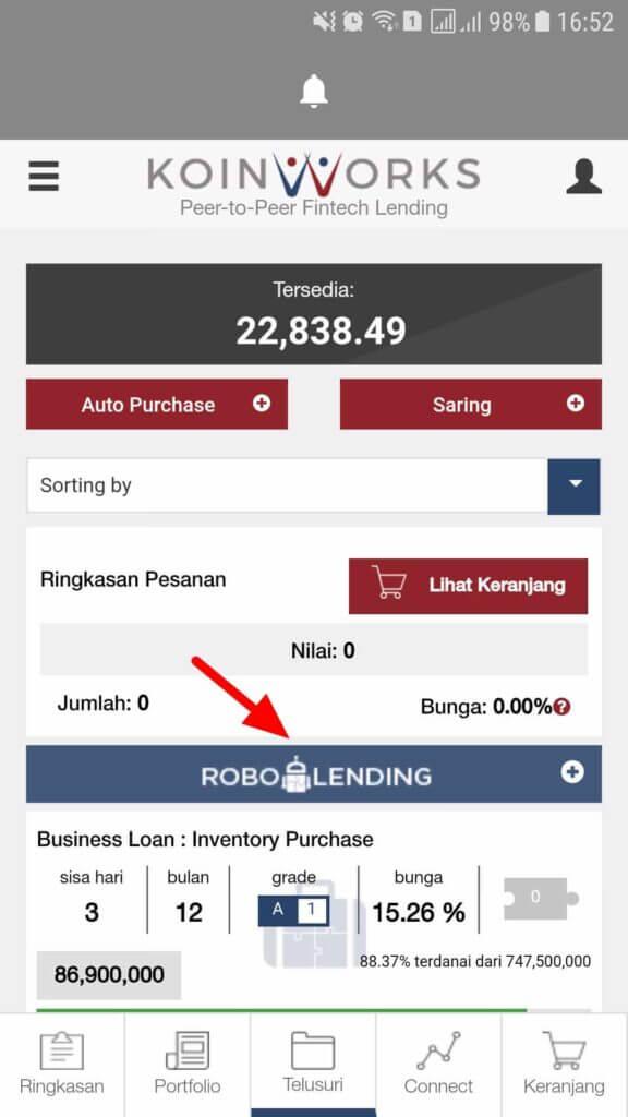 robolending koinworks di browse loan