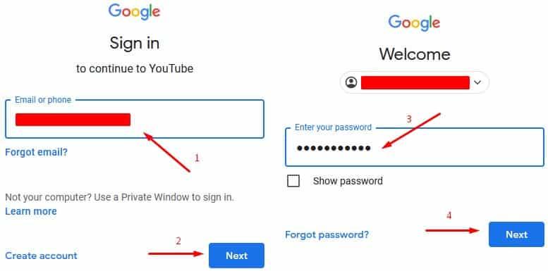 masukkan email dan password akun google