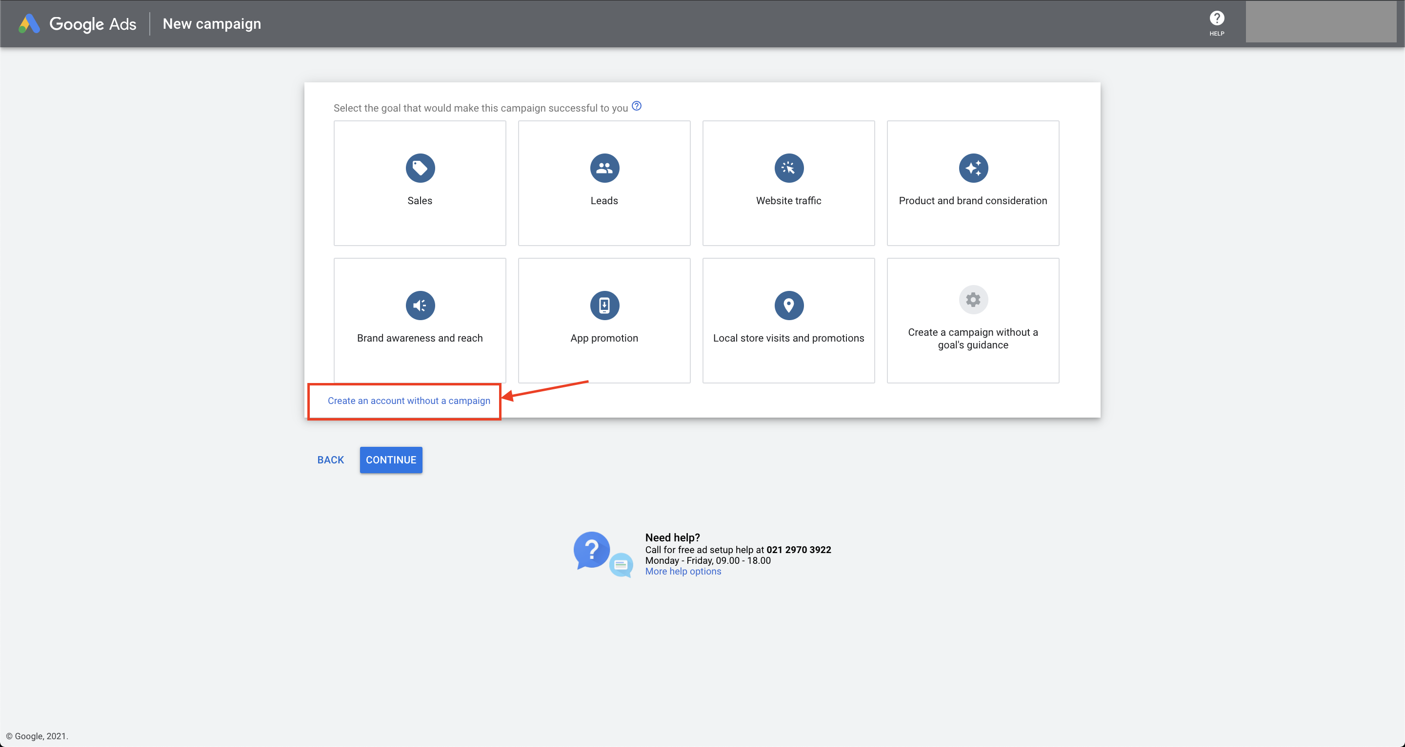 tampilan login ke google ads create an account without a campaign